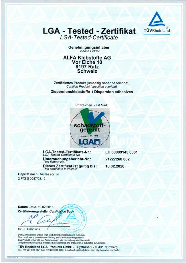 LGA Certificate (сертификат) на водорастворимый клей Simalfa